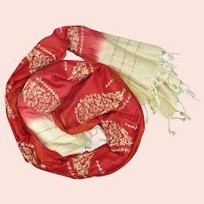 Indian Red Saree Silk Scarf Vintage