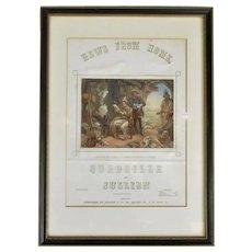 Framed Mid Victorian Oil Print Sheet Music Antique c1851