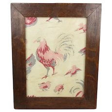 French Chicken Fabric In Oak Frame Antique Victorian c1890