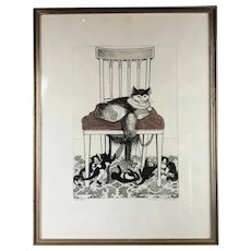 PAMELA HUGHES Black & White Tinted Etching of Cat & Kitten playing DIDO'S CHAIR Vintage Mid Century C1970