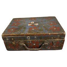 Walnut Wooden Box Painted With Iron Hinges Vintage c1950
