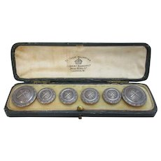 Antique Boxed Set of Heraldic Buttons c1900.