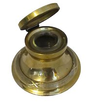 Larger Antique Brass Inkwell c1905.