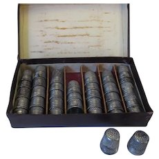 Box of 35 Antique Shop Steel Thimbles c1900.