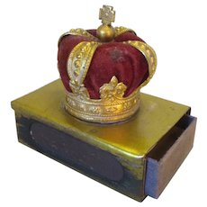 Vintage Novelty Crown Pin Cushion Match Box Holder c1930s.