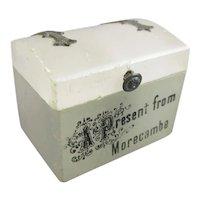 Souvenir Soapstone Thimble Holder Miniature Chest Antique c1920