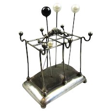 Novelty Sterling Silver Stick Stand Pin Holder Vintage c1943