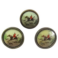 Set of Three Hunting Scene Vest Buttons Antique c1910