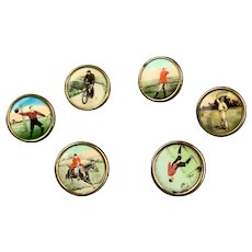 Set Of Six Lithograph Sporting Buttons Antique Victorian c1900