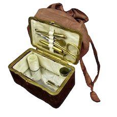 Ladies Sewing Bag Set Antique c1900