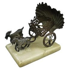 French Brass Donkey Cart Scent Bottle Holder Antique c1900