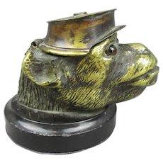 Cast Brass Monkey Head Ink Well Antique c1880