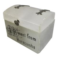 Souvenir Soapstone Thimble Chest 'Present from Morecambe' Antique c1900