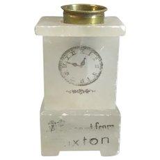 Souvenir Soapstone Grandfather Clock Thimble Holder Antique c1900