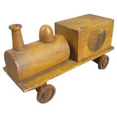 Scottish Mauchline Ware Train Money Box Antique c1900