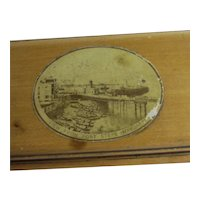 View from Fort Steps Margate Mauchline Ware Trinket Box Antique Victorian c1890