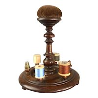 Oak Wooden Cotton Reel Holder Antique Victorian c1880