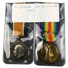 Pair of Silver and Gilded WW1 ASC Medals Antique 1914-19