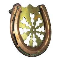 Unique Copper & Brass Horseshoe Trivet Antique Arts & Crafts c1920