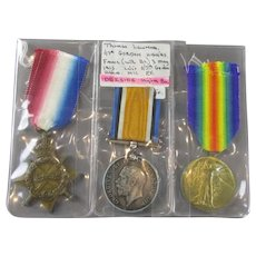 WW1 Medal Trio Pte in Gordon Highlanders Antique c1919