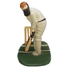 English Cast Iron Cricketer Door Stop Vintage 20th Century.