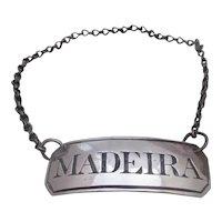 English Sterling Silver Madeira Decanter Label Antique Birmingham 1809