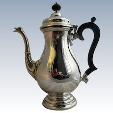 English Sterling Silver Coffee Pot Of Baluster Form Vintage London 1966