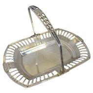 Sterling Silver Basket With Swing Handle Antique Edwardian Hallmarked Birmingham 1908.