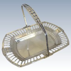 Sterling Silver Basket With Swing Handle Antique Edwardian Hallmarked Birmingham 1908.