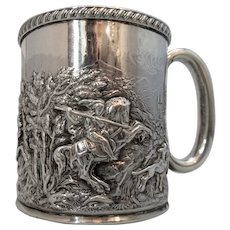 Small Sterling Silver Heavily Embossed Mug by Thomas Haynes Antique c1898.