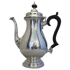 Sterling Silver Coffee Pot Of Baluster Form Vintage London 1966.