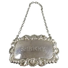 Sterling Silver Sherry Decanter Label Birmingham 1967