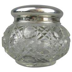Sterling Silver Topped Pin Jar Antique Edwardian Birmingham 1912