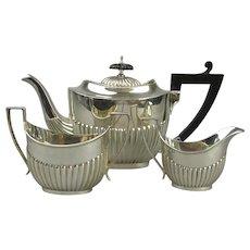 Sterling Silver Three Piece Tea Set Antique Edwardian Sheffield 1904/05