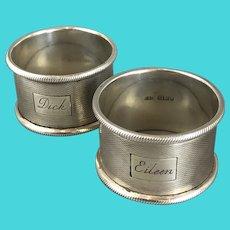 Pair Sterling Silver Napkin Rings By Cohen & Charles Vintage Birmingham 1966