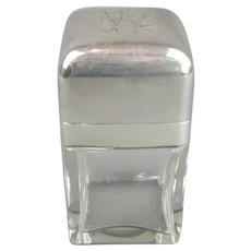 Sterling Silver And Glass Perfume Jar Antique Edwardian Birmingham 1902