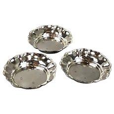 Trio Sterling Silver Round Trinket Pin Dishes By ESC Birmingham Vintage 1975