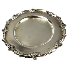 Sterling Silver Round Calling Card Tray Sherwood & Sons Brimingham Antique Victorian 1901