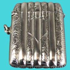 Sterling Silver Cylindrical Vesta Case or Match Safe Box by John Rose Birmingham Antique 1905