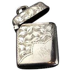 Griffin Chester Sterling Silver Decorated Vesta Antique Edwardian 1907