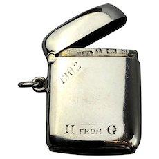 Horton Allday Sterling Silver Vesta Case Victorian Birmingham 1900
