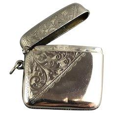 Samuel Levi Sterling Silver Unengraved Vesta Case Antique Birmingham 1908