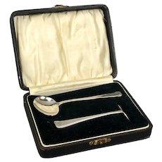 Boxed Sterling Silver Christening Set by Arthur Price Birmingham Art Deco Vintage c1933