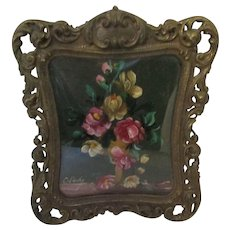 Miniature Oil On Wood Antique Victorian C1900.