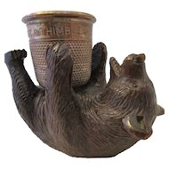 Carved Black Forest Bear And Metal Thimble Pin Holder Antique Victorian C1900.