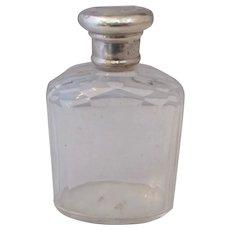 Sterling Silver And Cut Glass Eau De Cologne Bottle Antique London 1911.