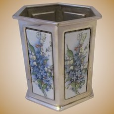 Hexagonal Coin Silver And Enamel Forget Me Not Spill Vase Edwardian C1910.