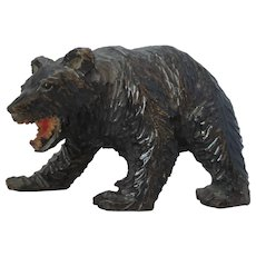 German Wooden Carved Black Forest Bear  Vintage 20th Century.