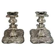 English Pair Of Silver Plated Candle Sticks Vintage 20th Century.