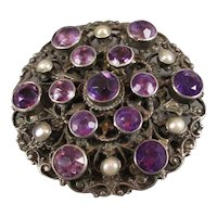 Sterling Silver Amethysts And Pearls Austro-Hungarian c.1890